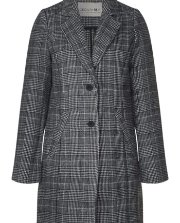 CECIL Damen Mantel Check Wool Coat, Black