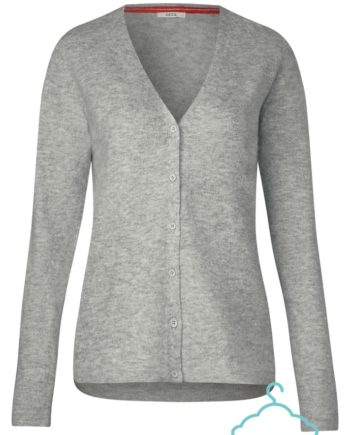 CECIL Damen Stickjacke TOS Cozy V-Neck Cardigan, light mineral grey melange