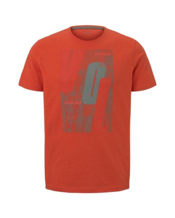 Tom Tailor T-Shirt t-shirt with sporty prints, Pale Bark Green Green