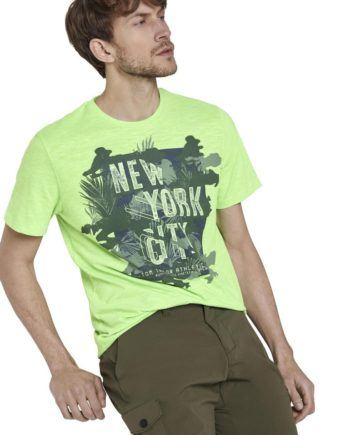 Tom Tailor T-Shirt two-tone t-shirt with print, neon green mocktwist Green