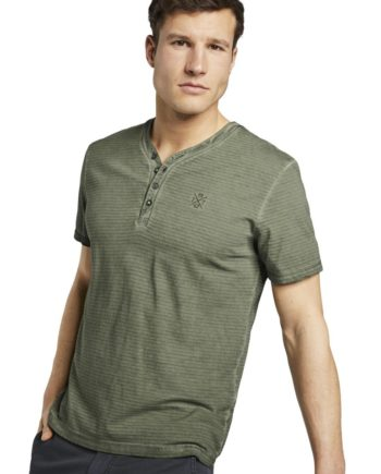 Tom Tailor T-Shirt overdyed henley, Olive Night Green Green
