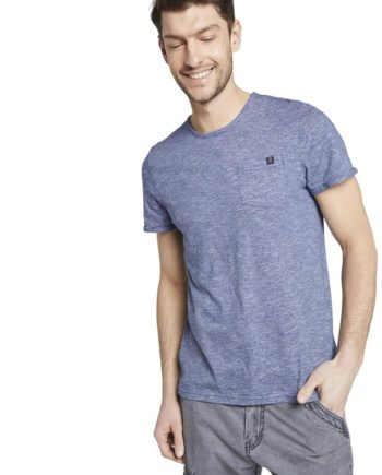 Tom Tailor T-Shirt t-shirt with chest pocket, blue dot structure