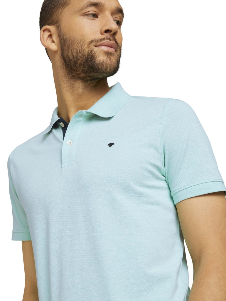 Tom Tailor basic polo with contrast, lucite green white melange