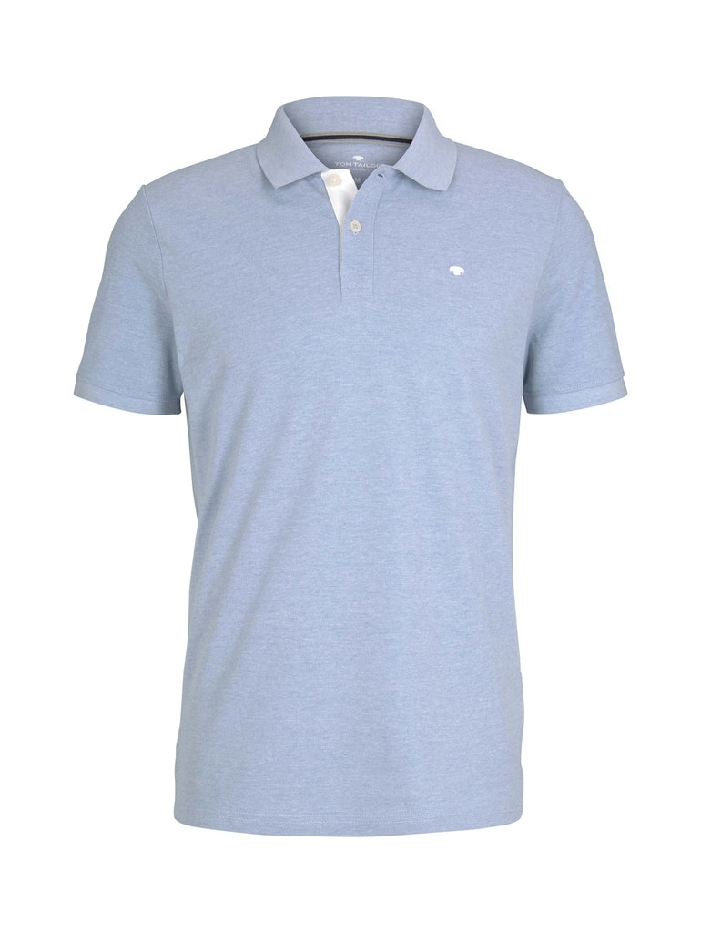 Tom Tailor basic polo with contrast, dusk blue white melange
